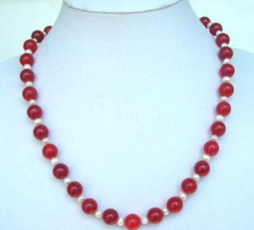 """Magnifique authentique 10 mm rouge jade 7-8 mm Blanc Perles Collier 18/"""""""