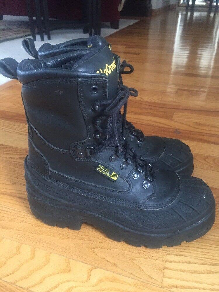 LaCrosse Boots 29921  Black Waterproof Leather Steel Toe & Midsole Sz 8 Mint