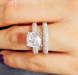 3 70 Ct Cushion Cut Diamond Micro Pave Engagement Ring Wedding Band H Vs2 Gia Ebay