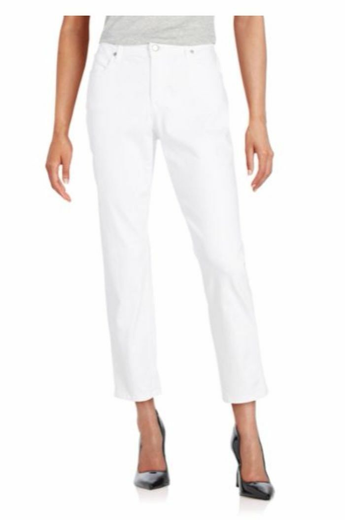 NWT Eileen Fisher White Skinny Ankle Jeans 14