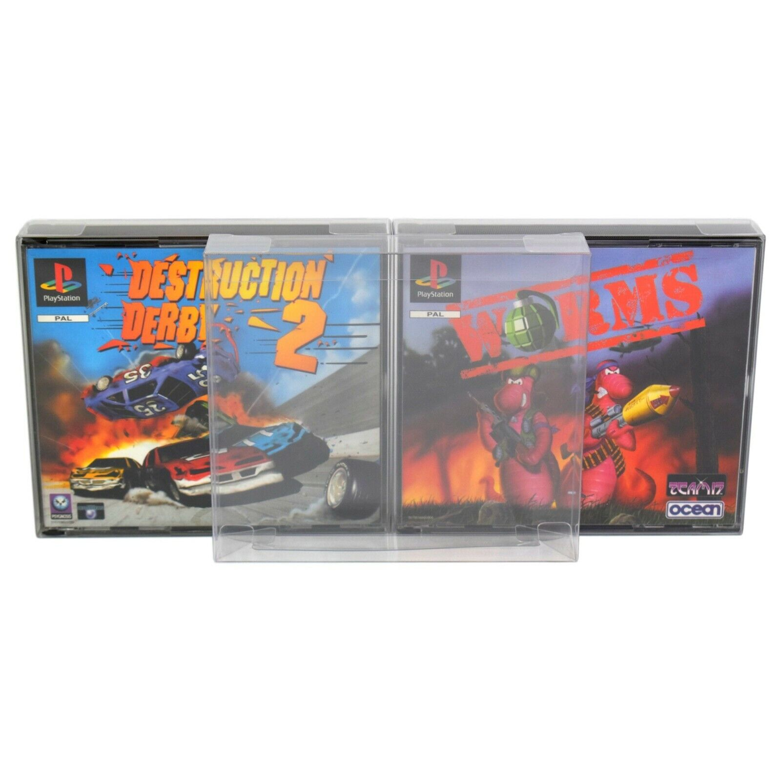 10 x GP17 PS1 Dual CD Game Box Protectors for Playstation 0.4mm Display Case