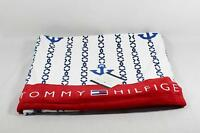 Tommy Hilfiger Beach Towel White Blue & Red Nautical 35 X 66 100% Cotton