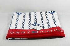 """Tommy Hilfiger Beach Towel White Blue & Red Nautical 35"""" x 66"""" 100% Cotton New"""