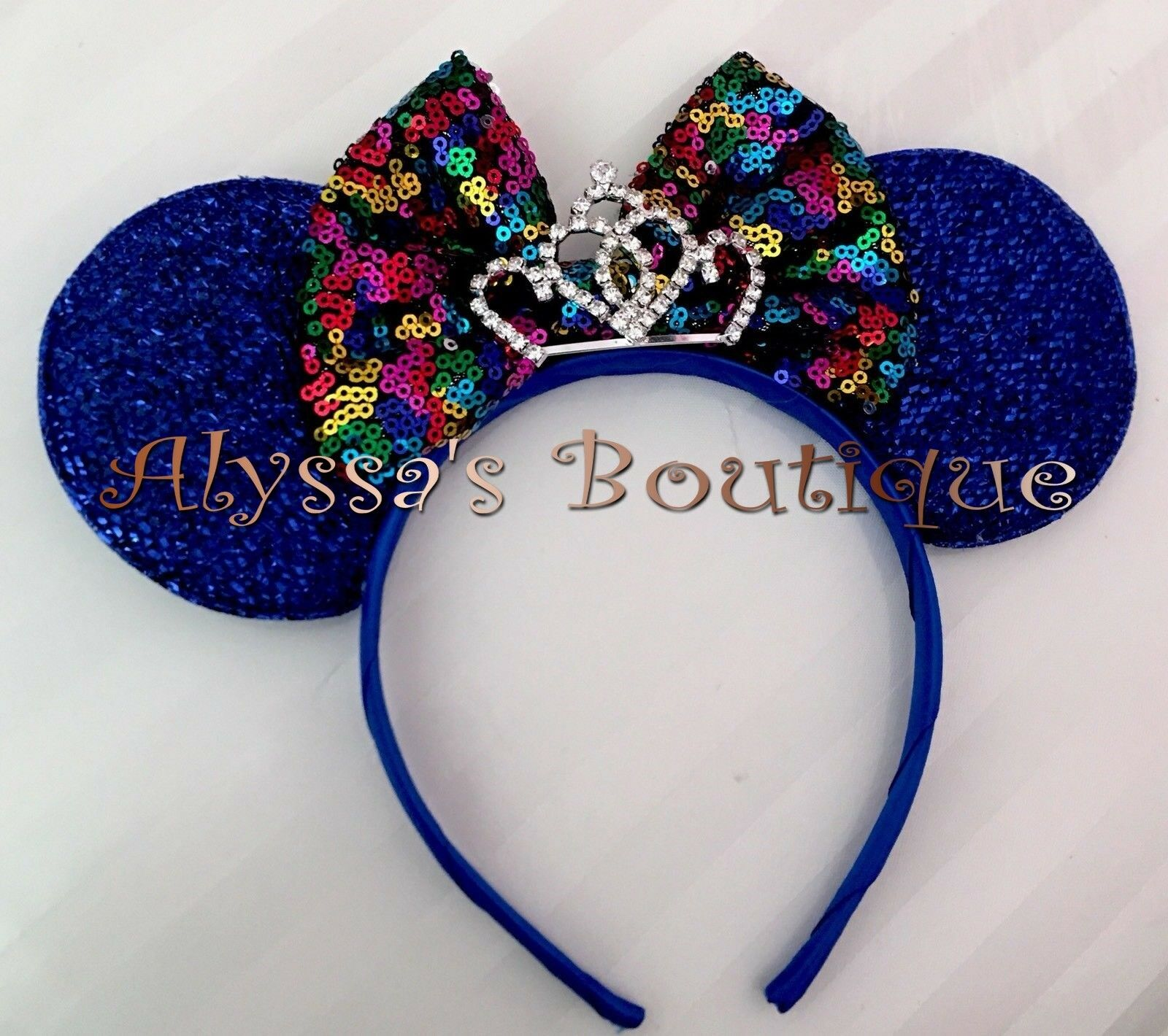 *NEW* Minnie Mouse Ears Tiara Headband Shiny Red Sequin Rainbow Multicolors Bow