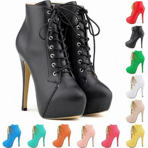 femmes 2018 High-Top Lace up baskets Ankle bottes High Heel Stilleto 11 Couleur chaussures