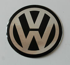 VW CHROME/BLACK Sticker/Decal - 50mm DIAMETER HIGH GLOSS DOMED GEL FINISH