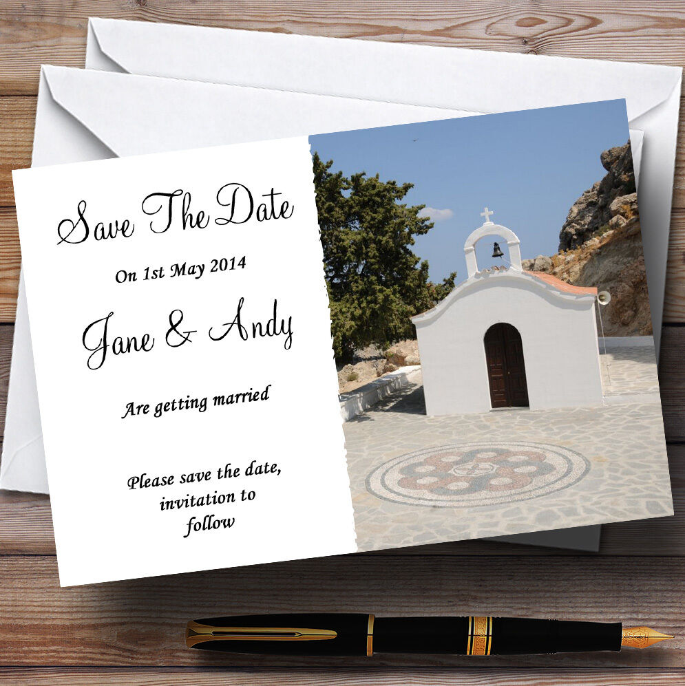 St Pauls Lindos Rhodes Abroad Personalised Wedding Save The Date Cards