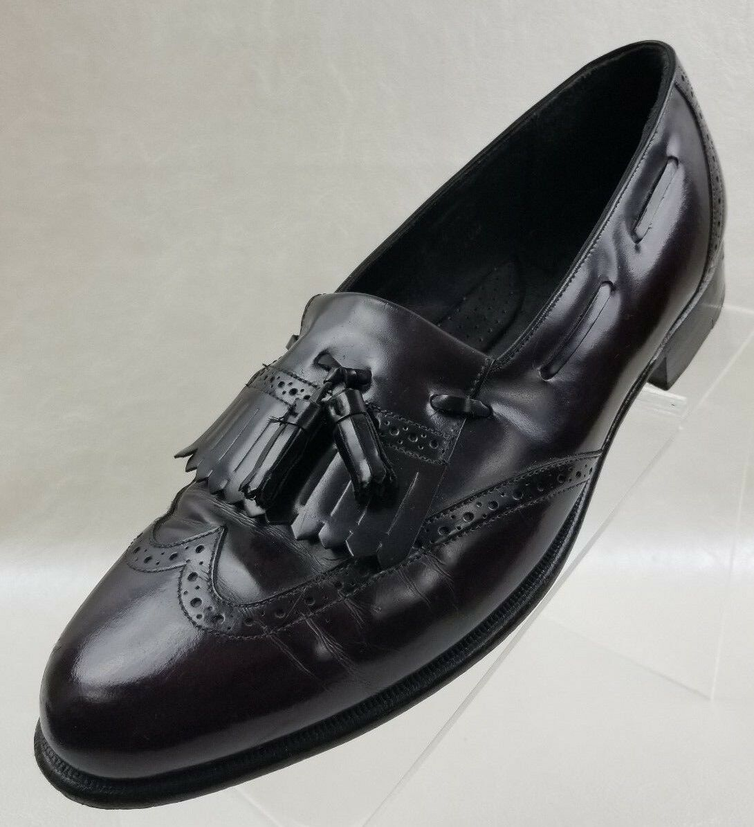 Johnston Murphy Loafers Mens Wing Tip Tassel Kiltie Burgundy Leather shoes 8.5M