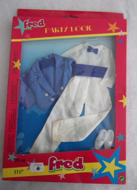 Fred Party Look für 29cm Ankleidepuppe Outfit ( blau/weiß) / Vintage OVP Plasty