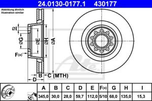 24.0116-0104.1 2x Bremsscheibe Bremse ATE