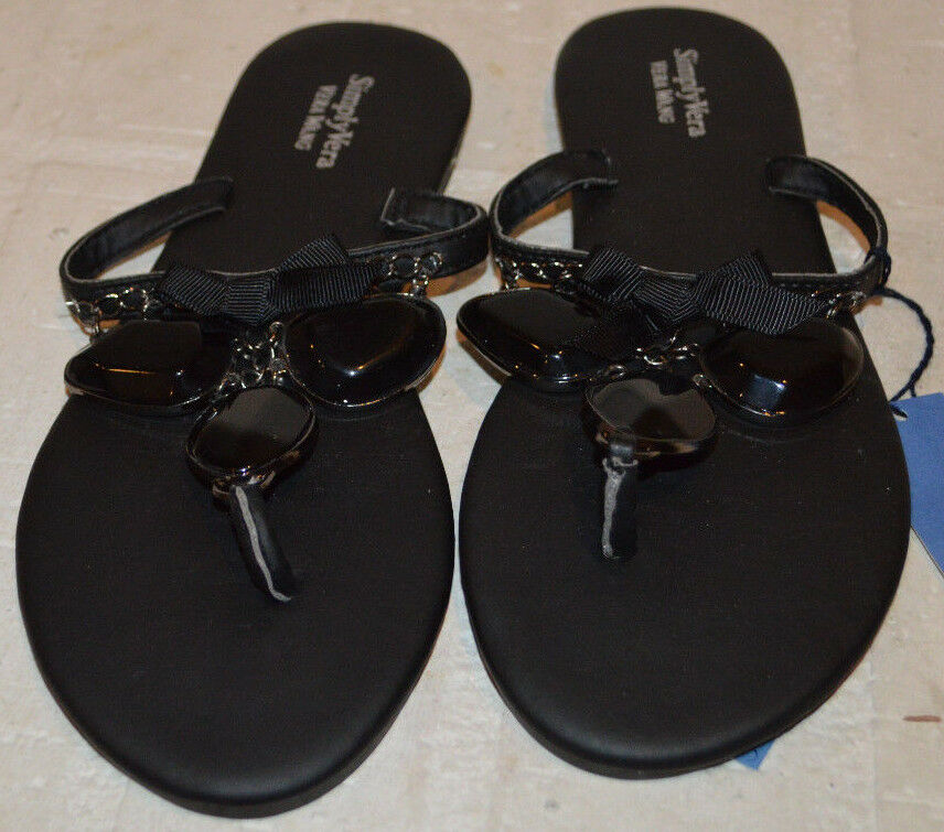 Women's Simply Vera Vera Wang Black Jewels Slip On Thong Sandals Shoes S (5-6)