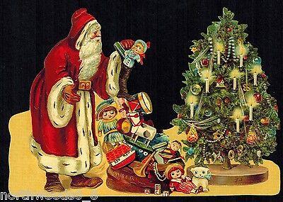 FATHER SANTA TREE SLED CUT CHRISTMAS TREE SCRAP  GERMAN