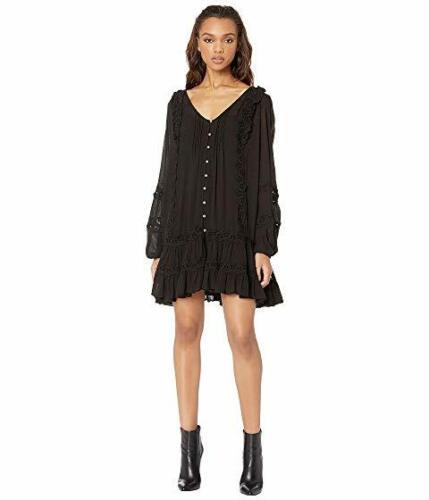 Free People Snow Angel Mini Dress Black XS X-Small Uk Size 8 Boho Style BNWT