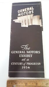 1934-GM-Exhibit-100-Years-of-Progress-Sepia-Brochure-Excellent-Condition-US