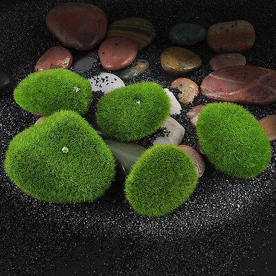 5x Aquarium Fish Tank Decor Artificial Ornament Underwater Decoration Green Moss