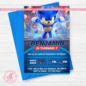 Sonic The Hedgehog Invitation Sonic Birthday Sonic Party Sonic Birthday Ebay
