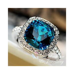 18K-White-Gold-Plated-Made-With-Swarovski-Crystal-Cushion-Cut-Sapphire-Ring