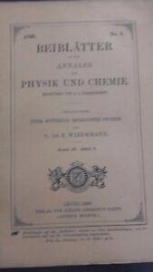Rivista Beiblatter N° 5 Zu Den Annalen Der Physik Und Chemie 1896 Lipsia Verlag