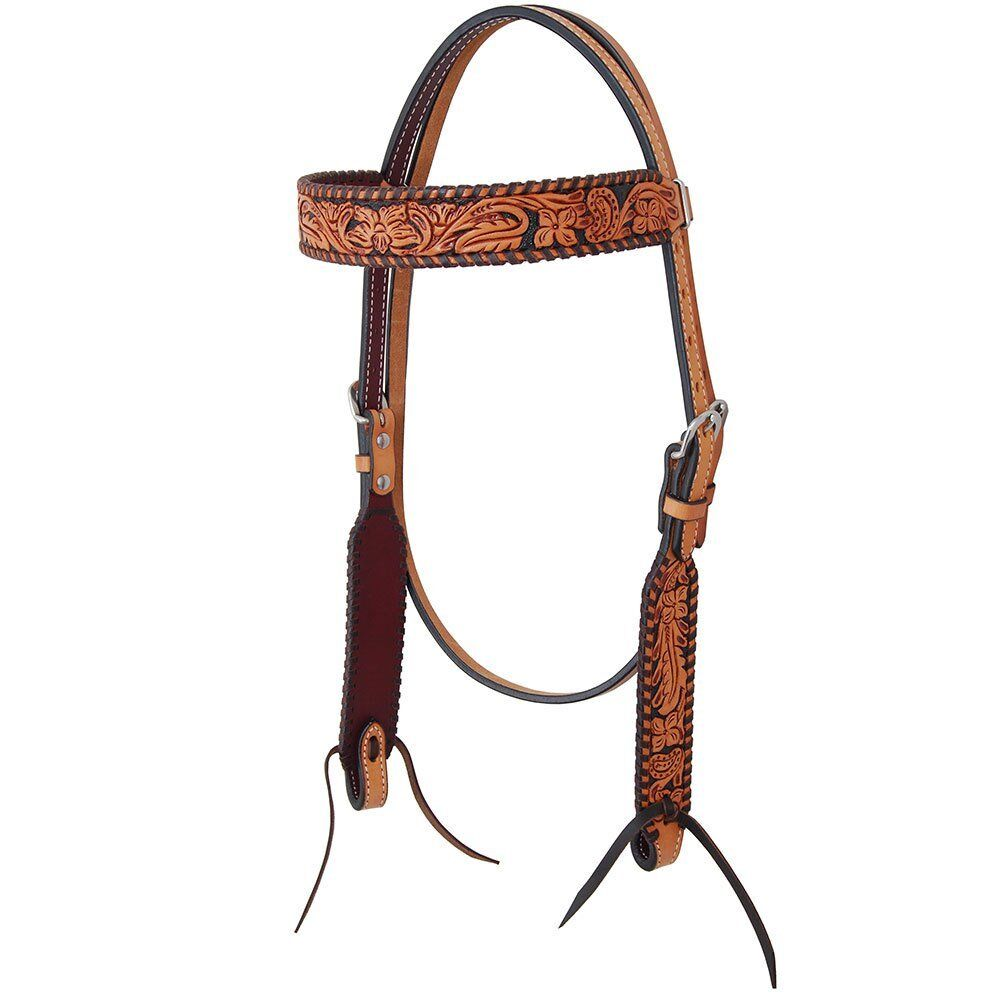 Western Natural Leather HAnd Carved Set of Headstall Breast Collar
