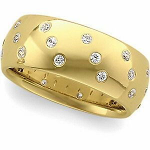 14 KT Yellow Gold Amp Gypsy Set White Diamond Thick Wide Cigar Band RingNEW