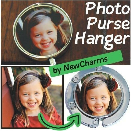CUSTOM PURSE HANGER HANDBAG Table HOOK w// YOUR PICTURE or LOGO FREE SHIPPING TOO
