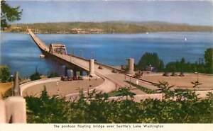 Chrome-WA-Postcard-C723-Pontoon-Floating-Bridge-Seattle-Lake-Washington-1945