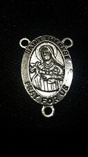 2 piece Tibetan silver rosary part 3hole large centre Catholic StTeresa 30mm