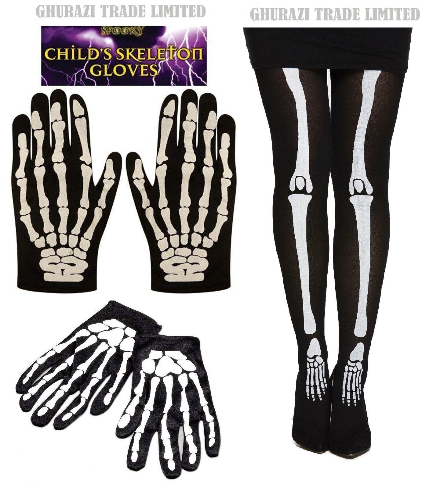 Adultos y niños Esqueleto Estampado Hueso Guantes Y Medias Halloween Unisex Vestido de fantasía