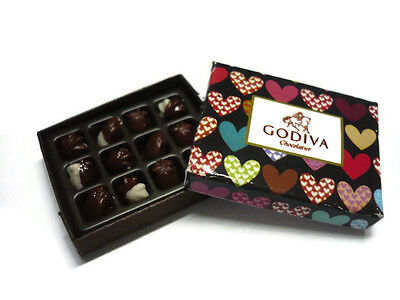 1 X GODIVA CHOCOLATE GIFT BOX DOLLHOUSE MINIATURES VALENTINE'S DAY-6