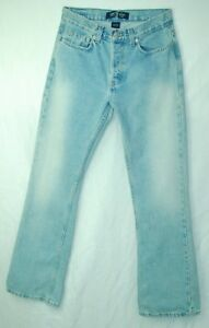 BUTTON-FLY-Light-Wash-Flare-Leg-MID-Rise-LONDON-100-Cotton-Jeans-0