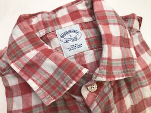 Brooks-Brothers-Mens-Irish-Linen-Plaid-L-S-Shirt-Size-Large-Slim-Fit-Red-Gray-Wh