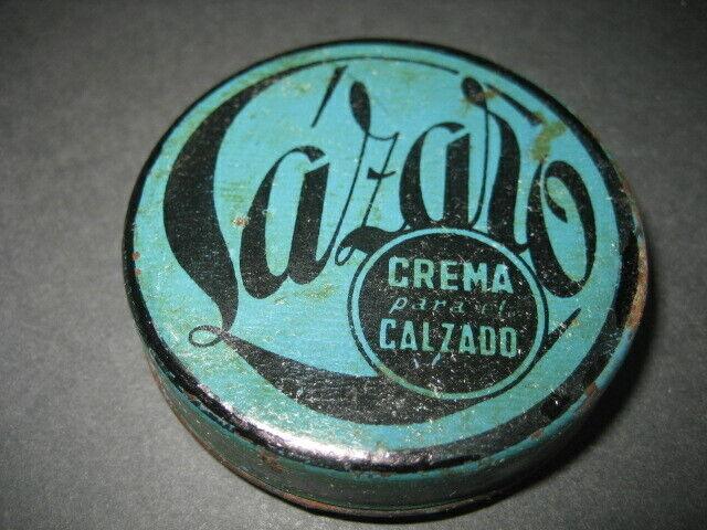 ANTIGUA CAJA METAL LAZARO. CREMA CALZADO, ZAPATOS, BETUN - SHOE POLISH