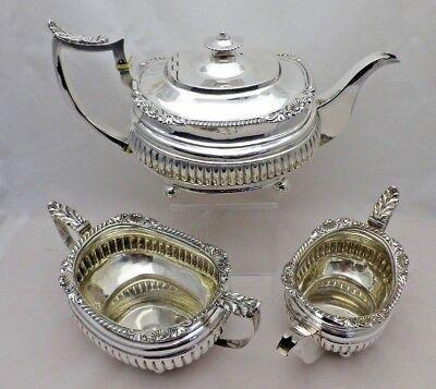 1817 Georgian Antique Solid Silver Large 3 Pint Tea Set 1408g (790-9-GNNY)
