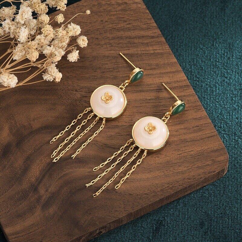 Ladies Chinese Style Hetian Jade Long Tassel Earrings Han Party Earrings girl