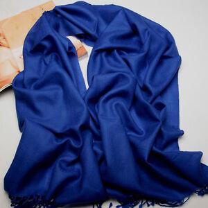 Nouveau-Femme-Bleu-Saphir-100-cachemire-solide-hiver-chaud-longue-echarpe-Chale-Wrap