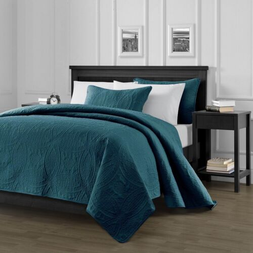Teal Pinsonic Quilted Austin Oversize Bedspread Coverlet 3-piece Set