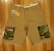 Polo Ralph Lauren Men Denim & Supply Khaki Flag Military Cargo Short Pants Sz 30