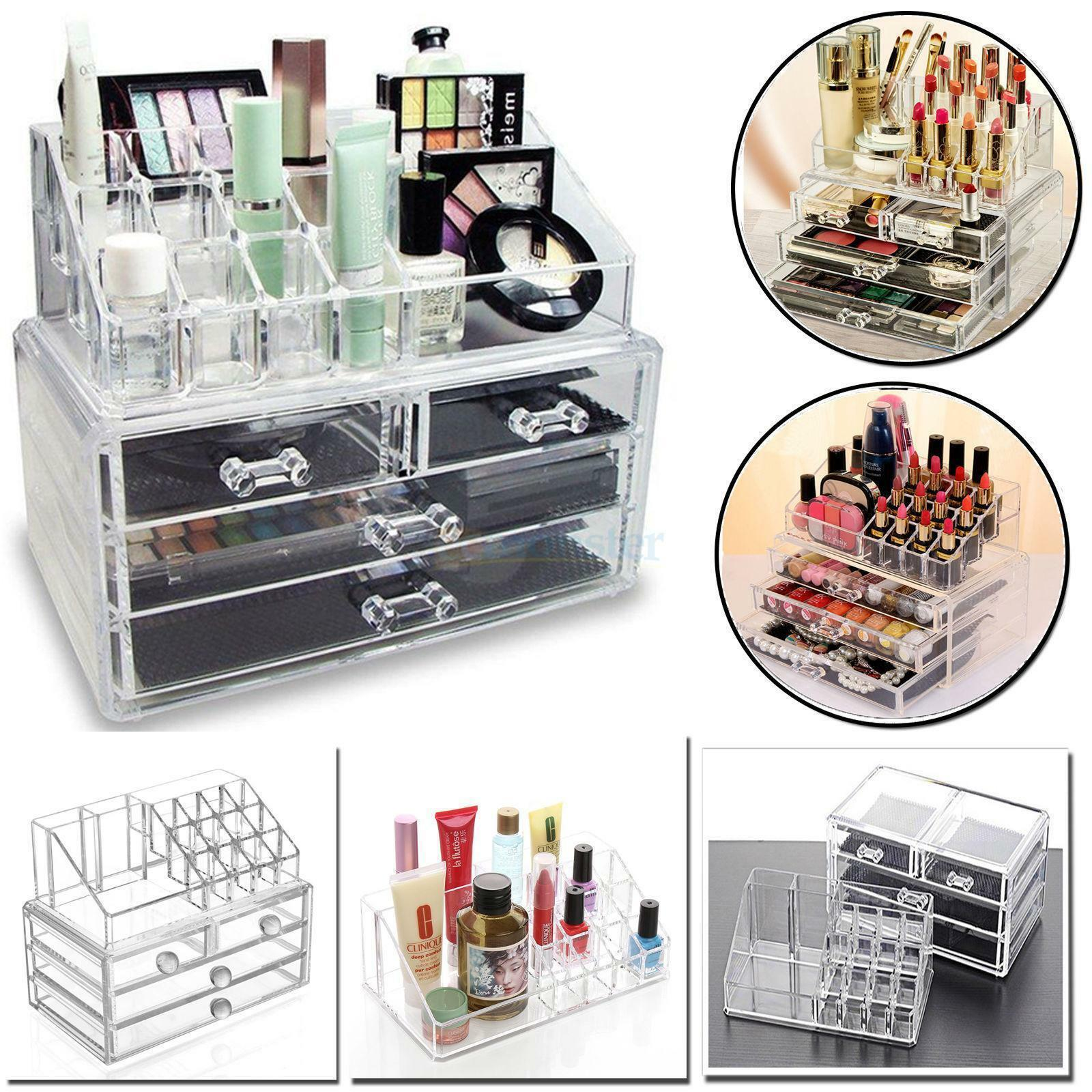 5444bd29d80f Details about 4 Drawer Clear Acrylic Cosmetic Organizer Makeup Case Jewelry  Storage Holder Box