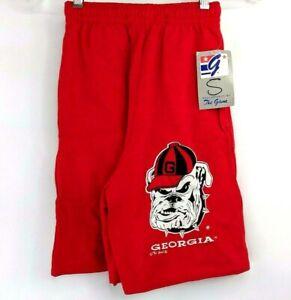 Vintage-Universidad-de-Georgia-Bulldogs-Hombres-S-The-Game-Rojo-Gimnasio-Shorts
