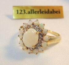 Traumhafter Opal Diamant Ring 585 er Gold Opalring Vollopal Diamanten / AO 518