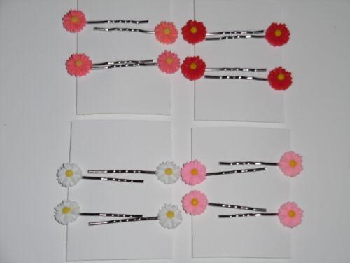 4x Daisy//Sunflower Hair Clips Bobby Pins Spring//Summer Accessories Weddings 11mm