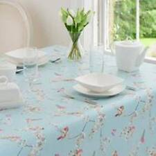 Round PVC Birds Tablecloth Duck Egg Blue Shabby Chic