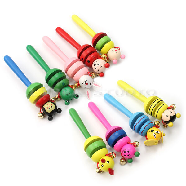 Creative Wooden Jingle Hand Bells Kids Toddler Baby Music Educational Toy Gift