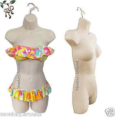 Flesh Nude Mannequin Plastic Female Women Display Body Torso Dress Hanging Form