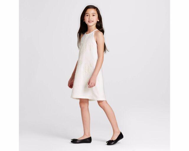 Victoria Beckham For Target White High Neck Floral Appliqu Dress