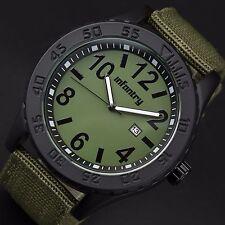INFANTRY Mens Quartz Analog Wrist Watch Date Luminous Sport Army Green Nylon New