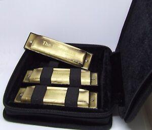 Bluesman Vintage Harmonica Coffret Cadeau Set De 3-touches De C, D, G-pack Starter-afficher Le Titre D'origine Haut Niveau De Qualité Et D'HygièNe