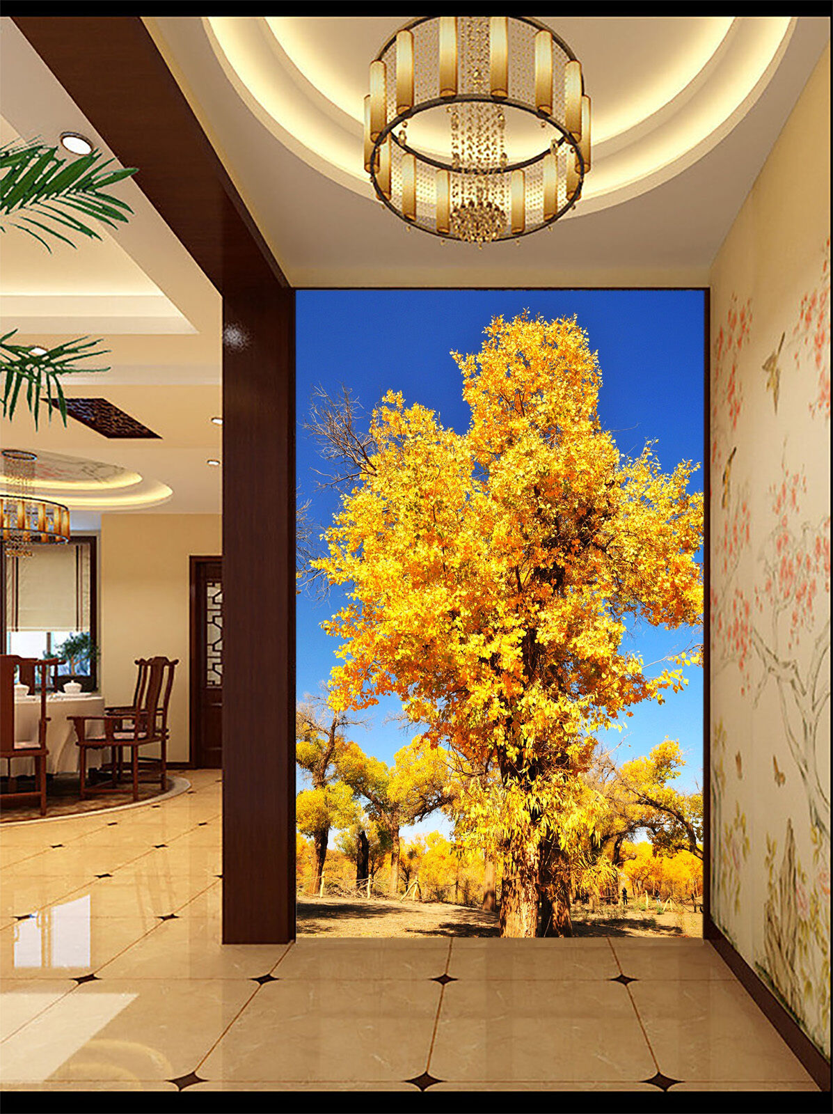 3D Gelb leaves tree Wall Paper wall Print Decal Wall Deco Indoor wall Mural