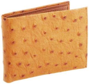 TAN-LEATHER-OSTRICH-CROC-MEN-039-S-BIFOLD-Front-Pocket-Flap-Top-10-Card-Wallet