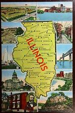 1940's Postcard Greetings From Illinois with Many Diferents Tour Locations